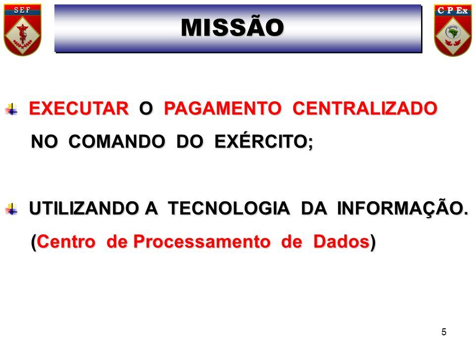 MISSÃO EXECUTAR O PAGAMENTO CENTRALIZADO NO COMANDO DO EXÉRCITO;