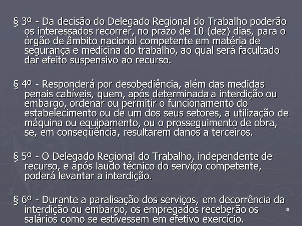§ 3º - Da decisão do Delegado Regional do Trabalho poderão os interessados recorrer, no prazo de 10 (dez) dias, para o órgão de âmbito nacional competente em matéria de segurança e medicina do trabalho, ao qual será facultado dar efeito suspensivo ao recurso.