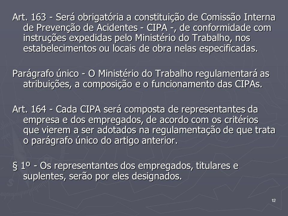 Art. 163 - Será obrigatória a constituição de Comissão Interna de Prevenção de Acidentes - CIPA -, de conformidade com instruções expedidas pelo Ministério do Trabalho, nos estabelecimentos ou locais de obra nelas especificadas.