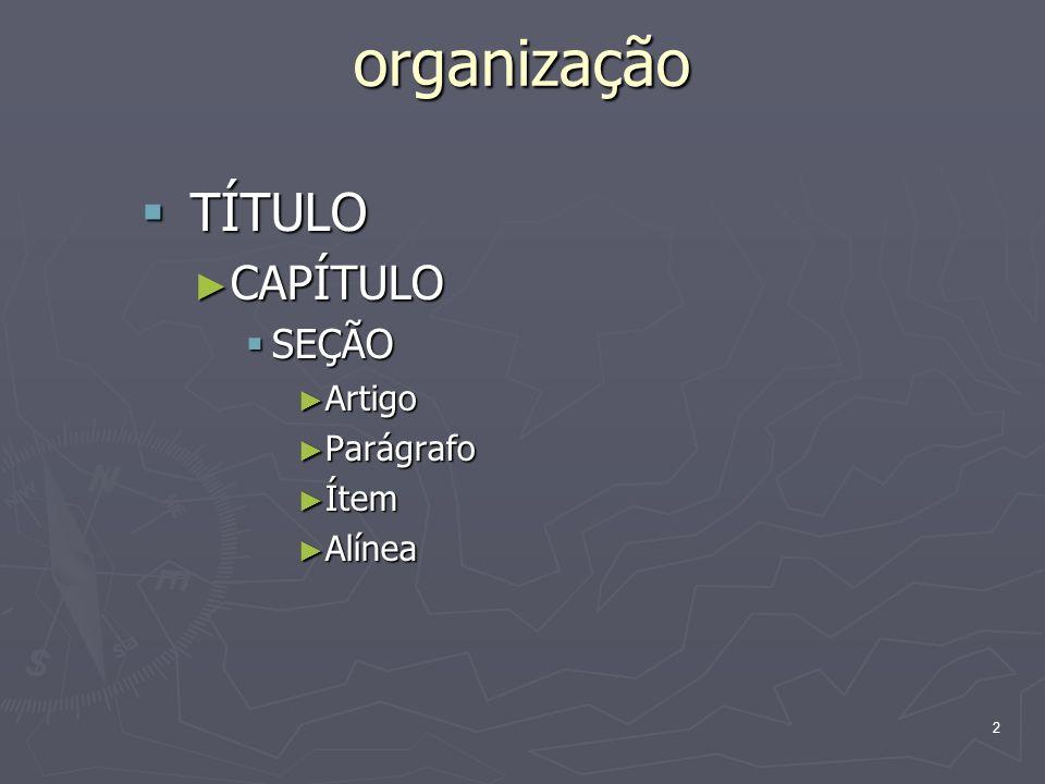 organização TÍTULO CAPÍTULO SEÇÃO Artigo Parágrafo Ítem Alínea