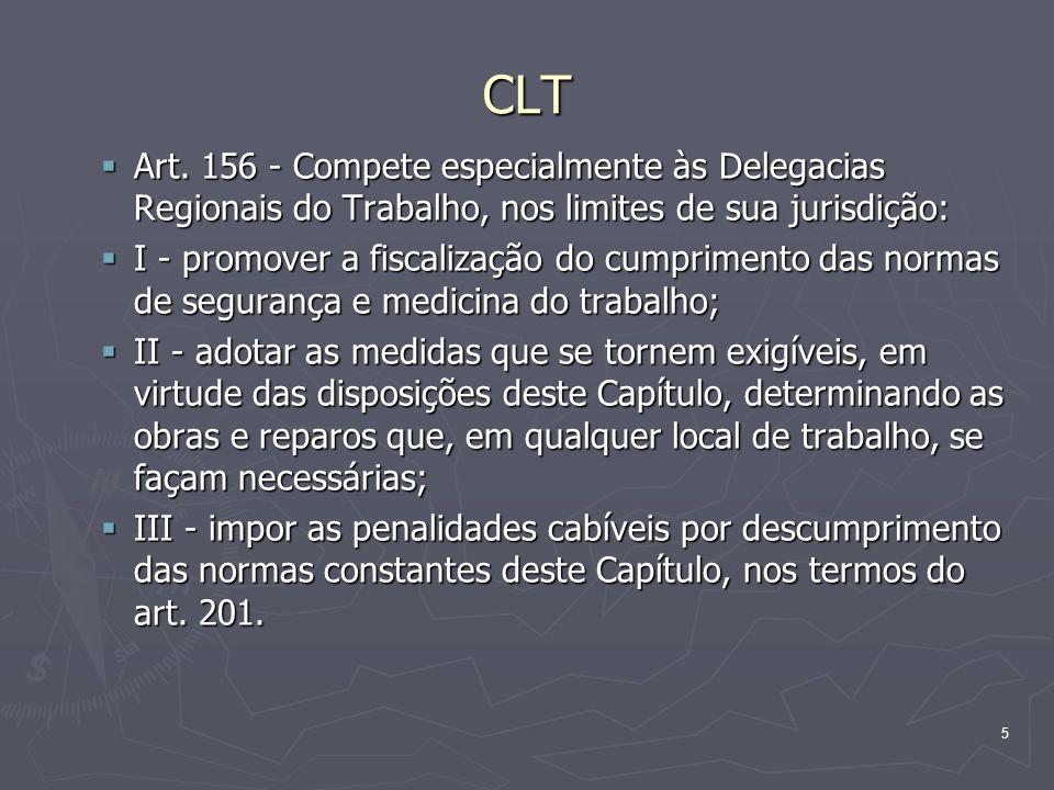 CLT Art. 156 - Compete especialmente às Delegacias Regionais do Trabalho, nos limites de sua jurisdição: