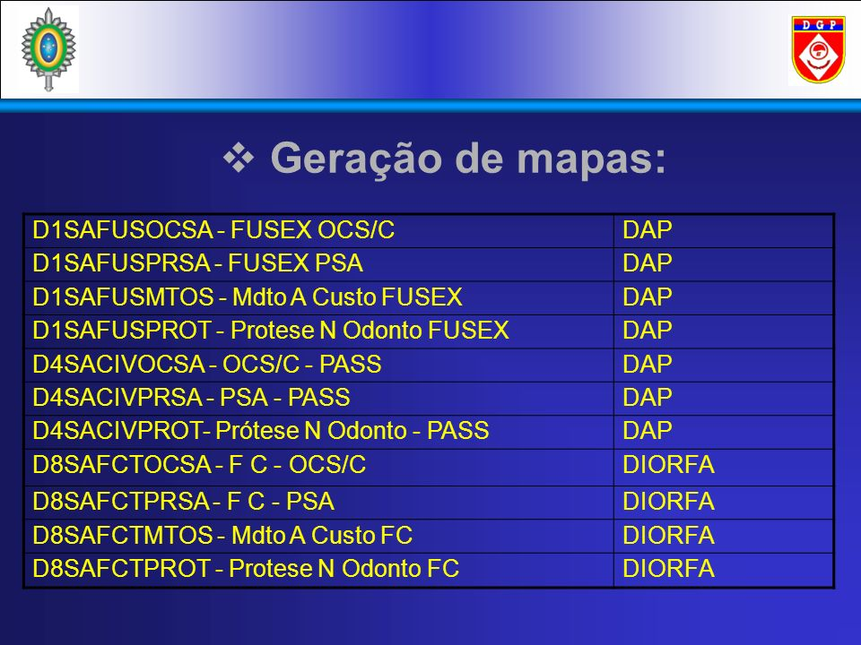 Geração de mapas: D1SAFUSOCSA - FUSEX OCS/C DAP