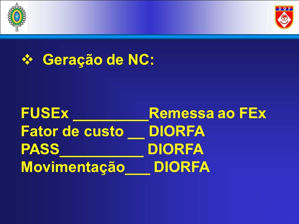 Geração de NC: FUSEx _________Remessa ao FEx. Fator de custo __ DIORFA.