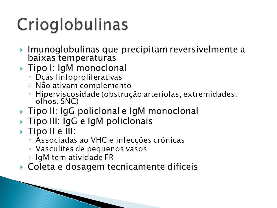Crioglobulinas Imunoglobulinas que precipitam reversivelmente a baixas temperaturas. Tipo I: IgM monoclonal.