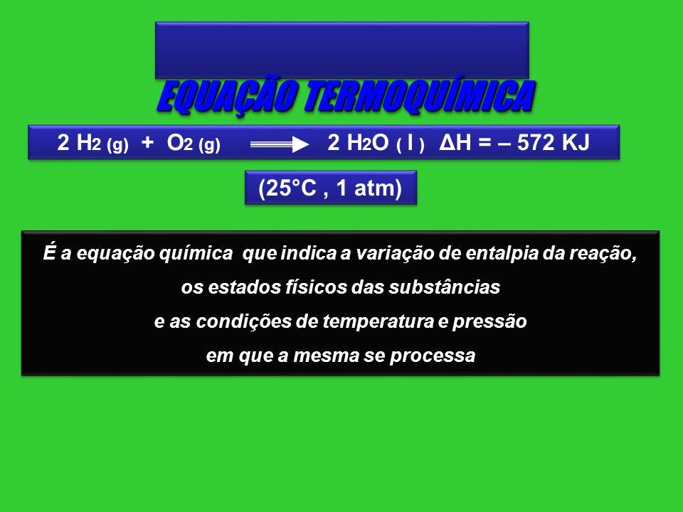 EQUAÇÃO TERMOQUÍMICA 2 H2 (g) + O2 (g) 2 H2O ( l ) ΔH = – 572 KJ