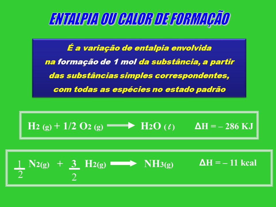 ENTALPIA OU CALOR DE FORMAÇÃO