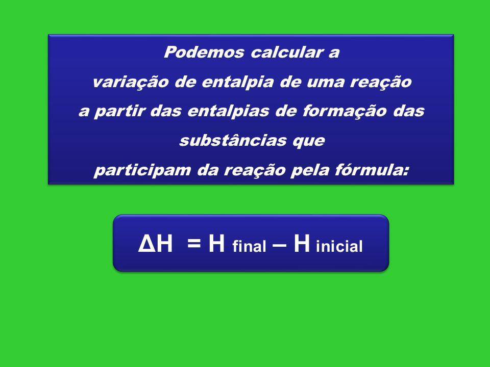 ΔH = H final – H inicial Podemos calcular a