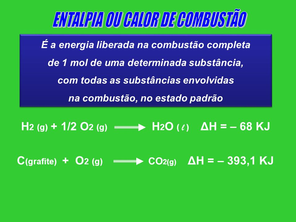 ENTALPIA OU CALOR DE COMBUSTÃO