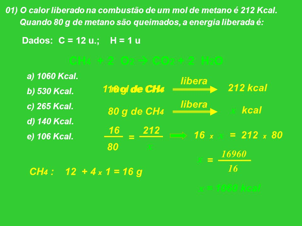 CH4 + 2 O2  CO2 + 2 H2O libera 1 mol de CH4 16 g de CH4 212 kcal