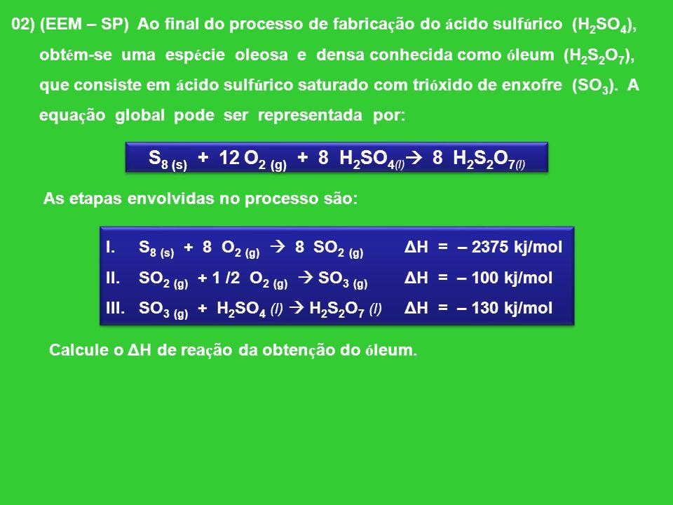 S8 (s) + 12 O2 (g) + 8 H2SO4(l) 8 H2S2O7(l)