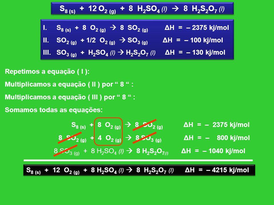 S8 (s) + 12 O2 (g) + 8 H2SO4 (l)  8 H2S2O7 (l)