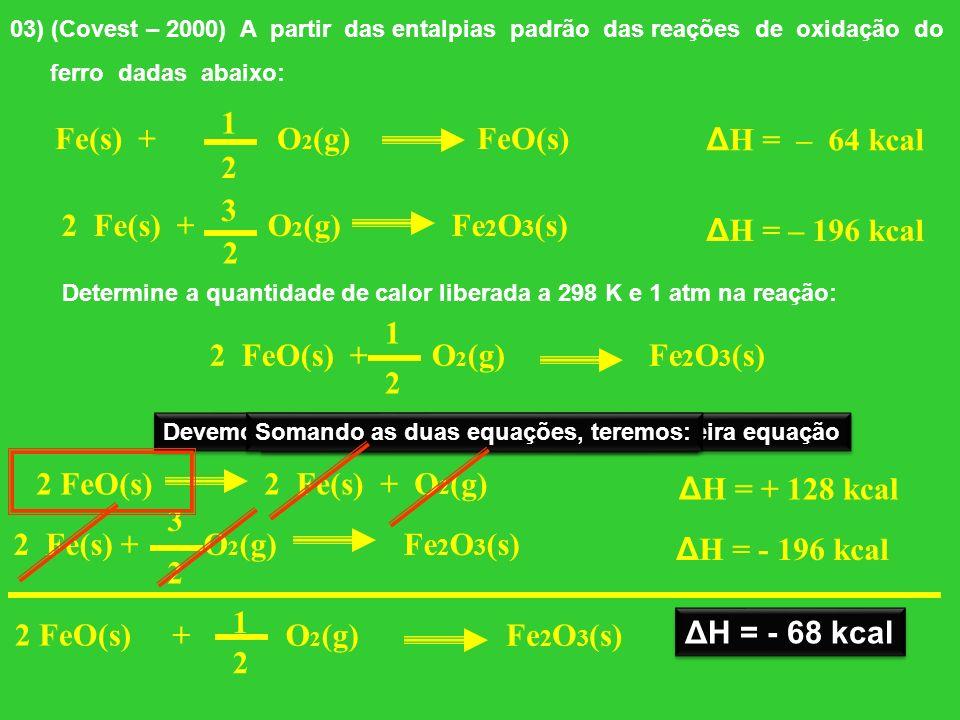 1 Fe(s) + O2(g) FeO(s) ΔH = – 64 kcal 2 3 2 Fe(s) + O2(g) Fe2O3(s)