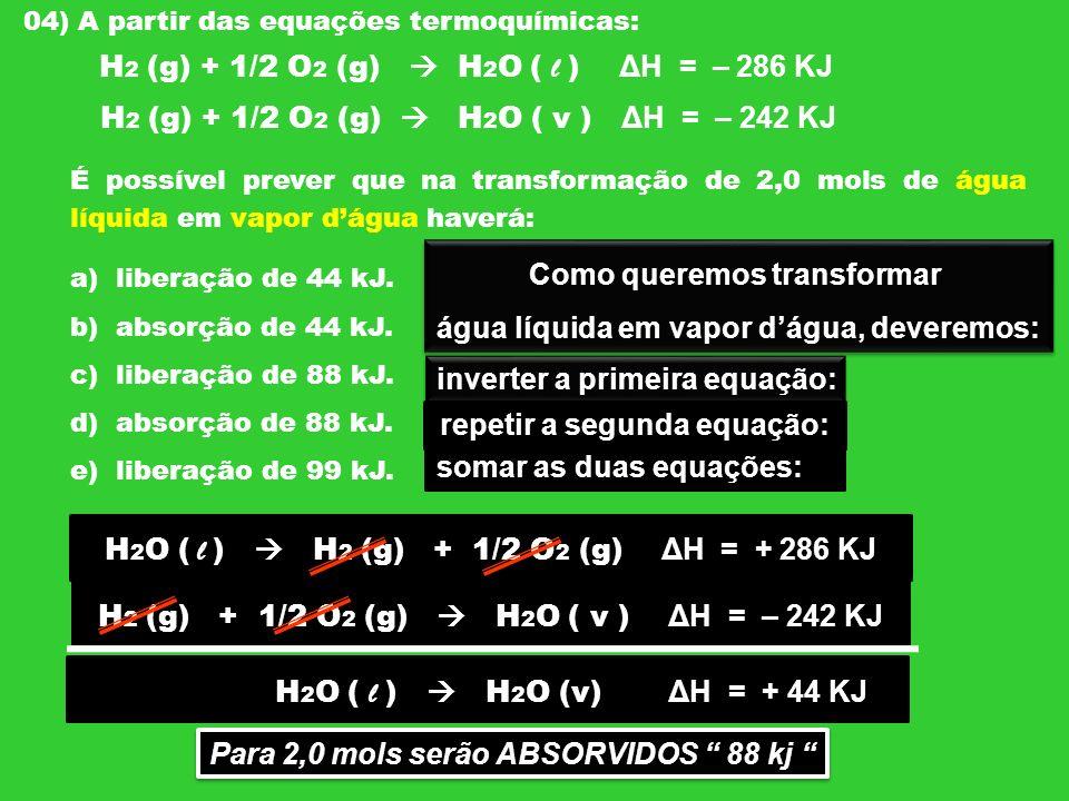 H2 (g) + 1/2 O2 (g)  H2O ( l ) ΔH = – 286 KJ