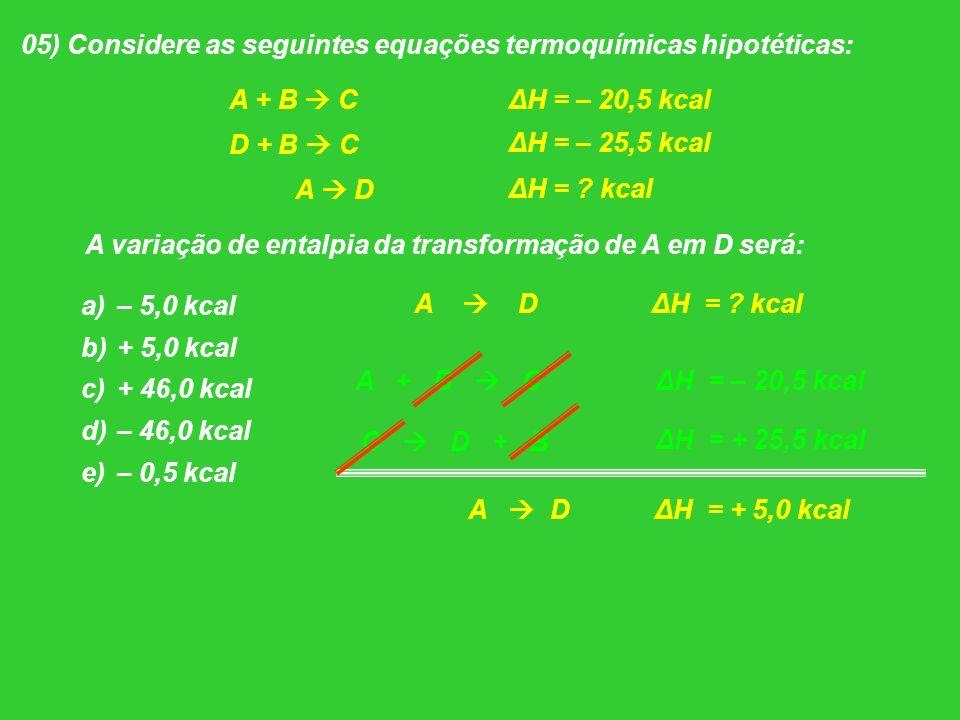 05) Considere as seguintes equações termoquímicas hipotéticas:
