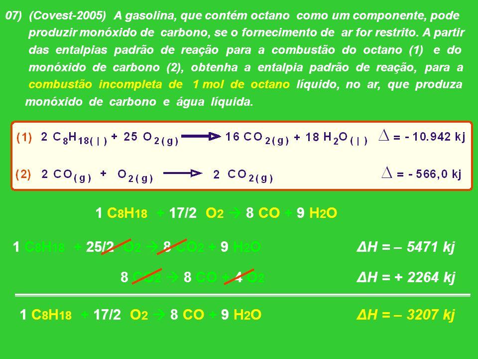 1 C8H18 + 17/2 O2  8 CO + 9 H2O 1 C8H18 + 25/2 O2  8 CO2 + 9 H2O