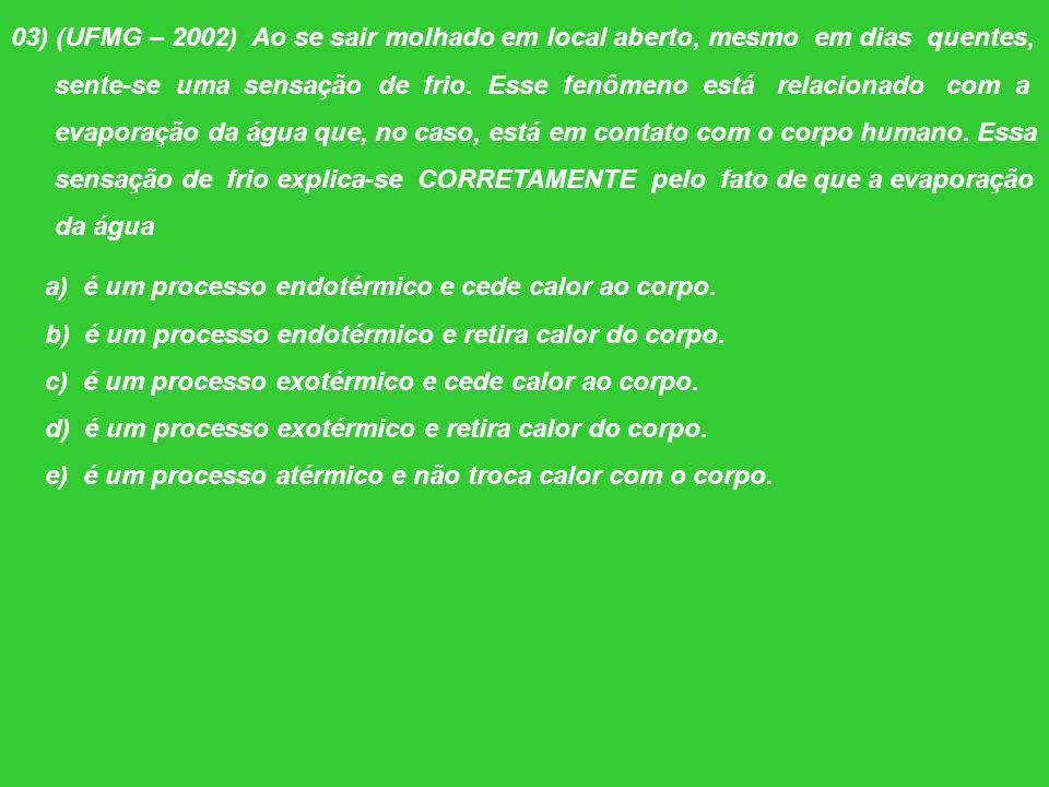 03) (UFMG – 2002) Ao se sair molhado em local aberto, mesmo em dias quentes,