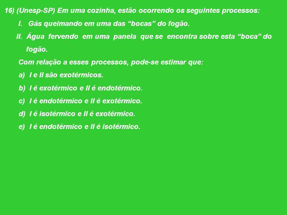 16) (Unesp-SP) Em uma cozinha, estão ocorrendo os seguintes processos: