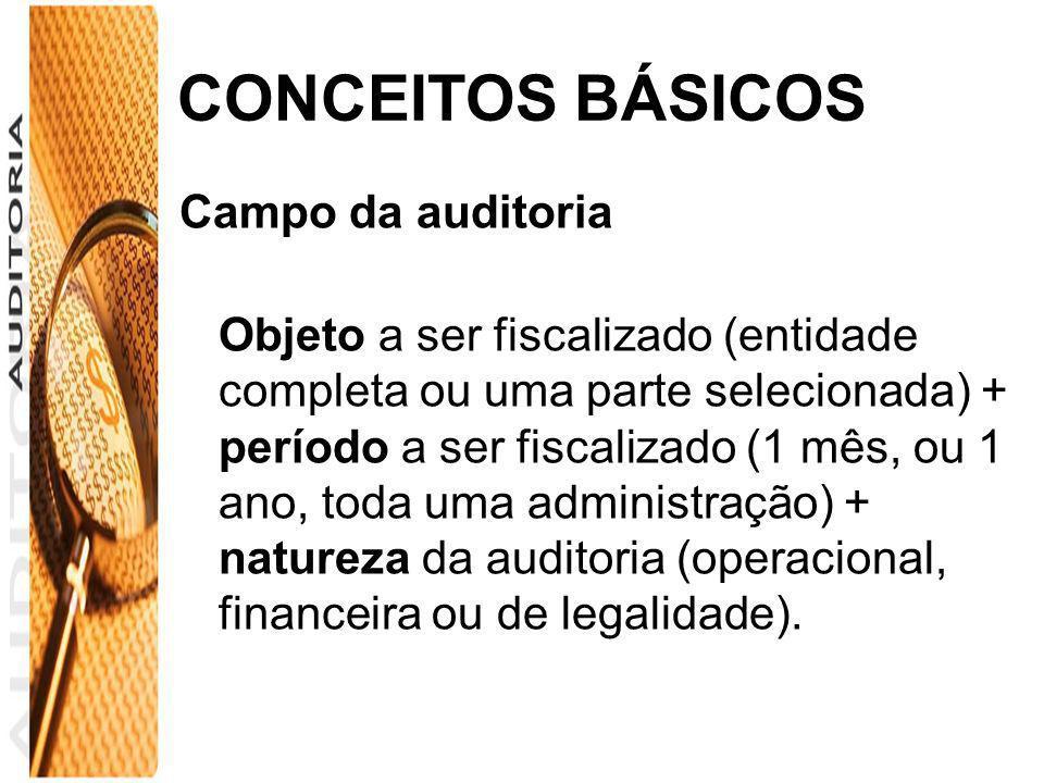 CONCEITOS BÁSICOS Campo da auditoria