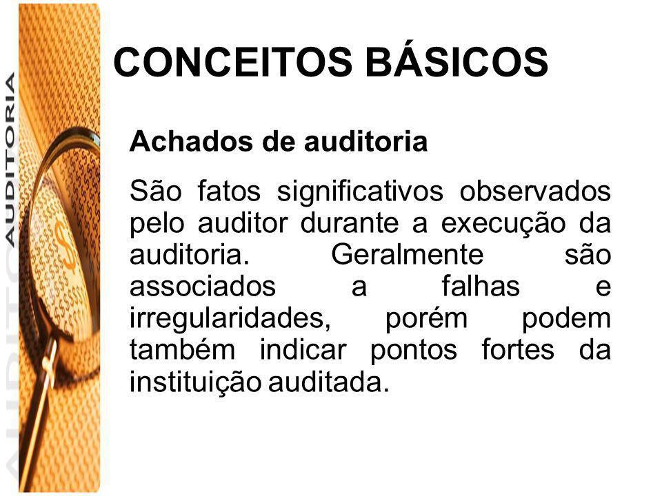 CONCEITOS BÁSICOS Achados de auditoria