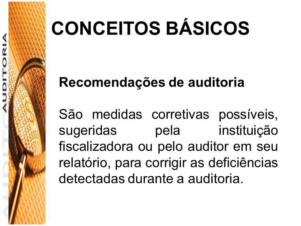 CONCEITOS BÁSICOS Recomendações de auditoria