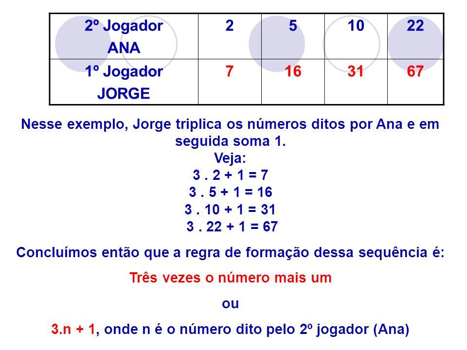 2º Jogador ANA 2 5 10 22 1º Jogador JORGE 7 16 31 67