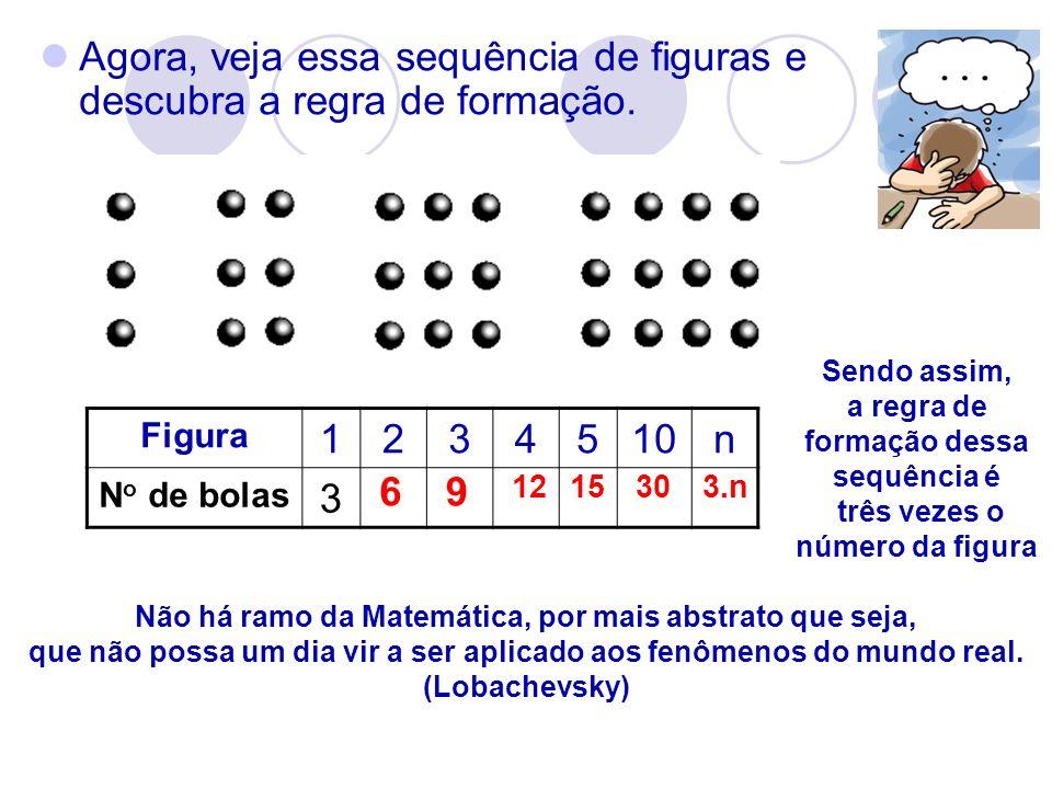 Agora, veja essa sequência de figuras e descubra a regra de formação.