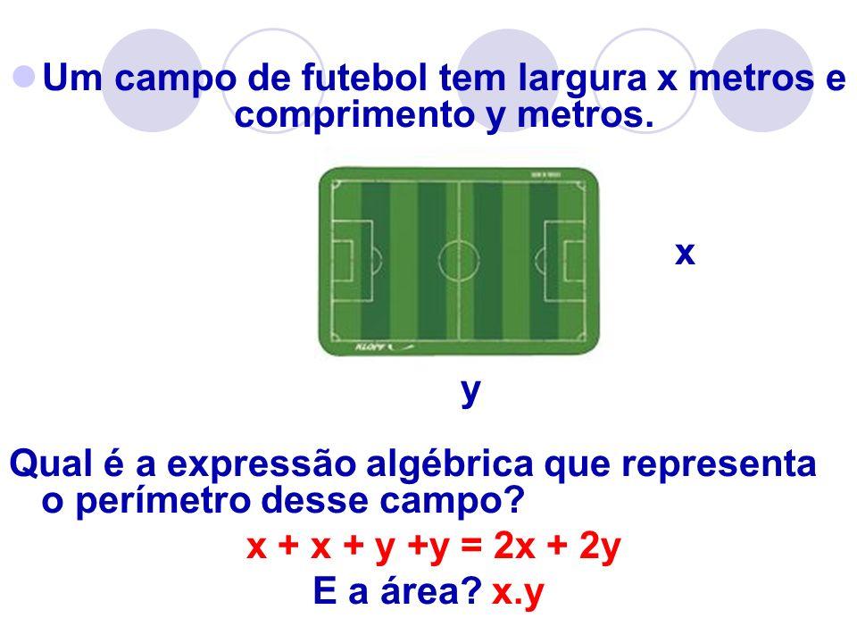Um campo de futebol tem largura x metros e comprimento y metros.