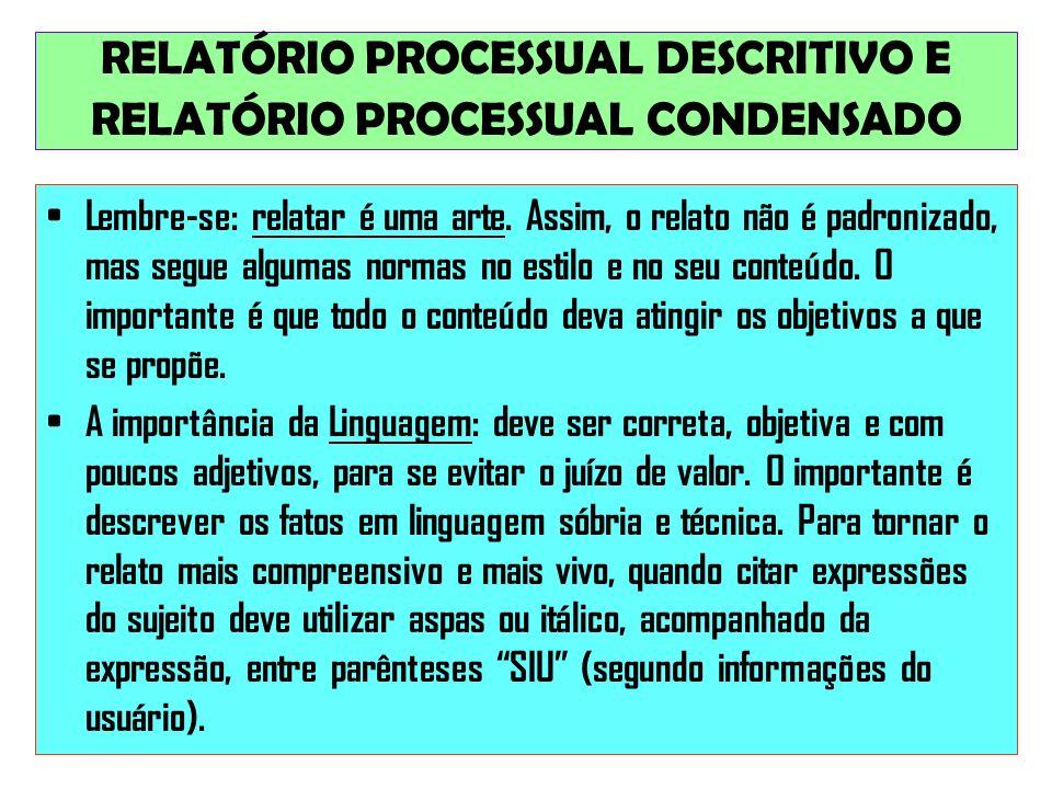 RELATÓRIO PROCESSUAL DESCRITIVO E RELATÓRIO PROCESSUAL CONDENSADO