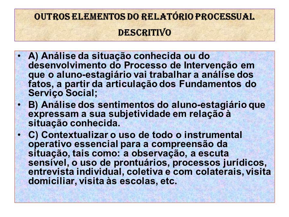 Outros elementos do RELATÓRIO PROCESSUAL DESCRITIVO