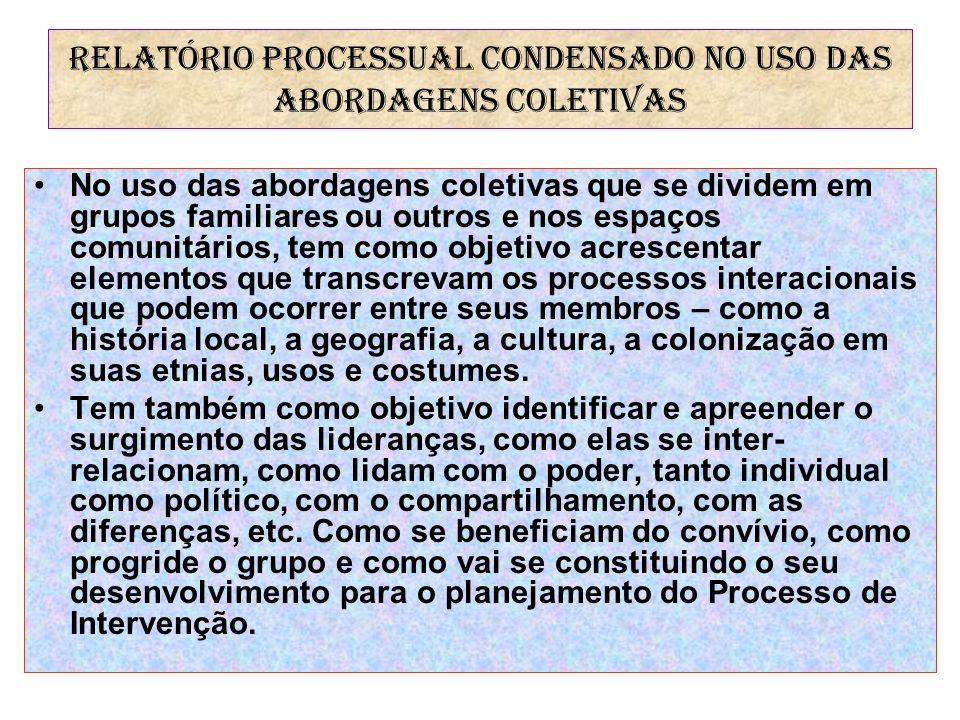 RELATÓRIO PROCESSUAL CONDENSADO NO USO DAS ABORDAGENS COLETIVAS