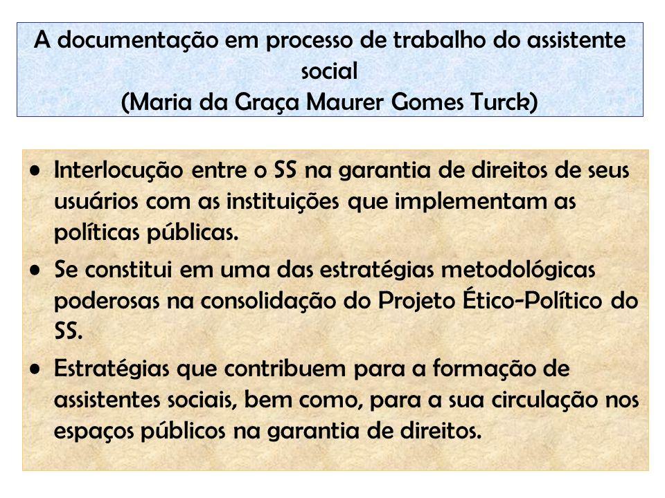 A documentação em processo de trabalho do assistente social (Maria da Graça Maurer Gomes Turck)