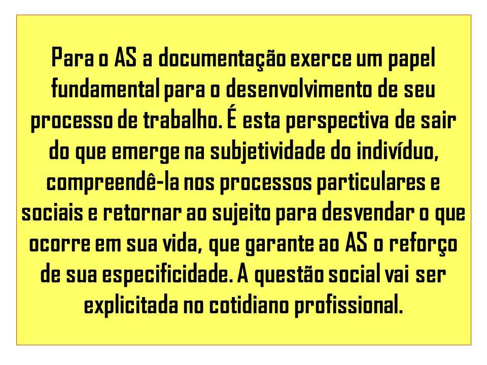 Para o AS a documentação exerce um papel fundamental para o desenvolvimento de seu processo de trabalho.