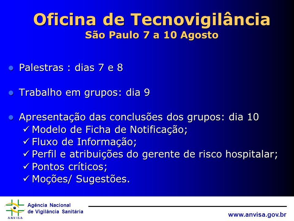 Oficina de Tecnovigilância São Paulo 7 a 10 Agosto
