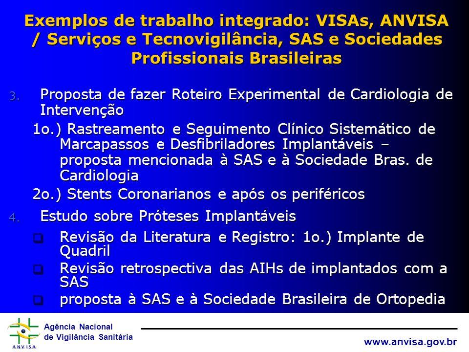 Exemplos de trabalho integrado: VISAs, ANVISA / Serviços e Tecnovigilância, SAS e Sociedades Profissionais Brasileiras