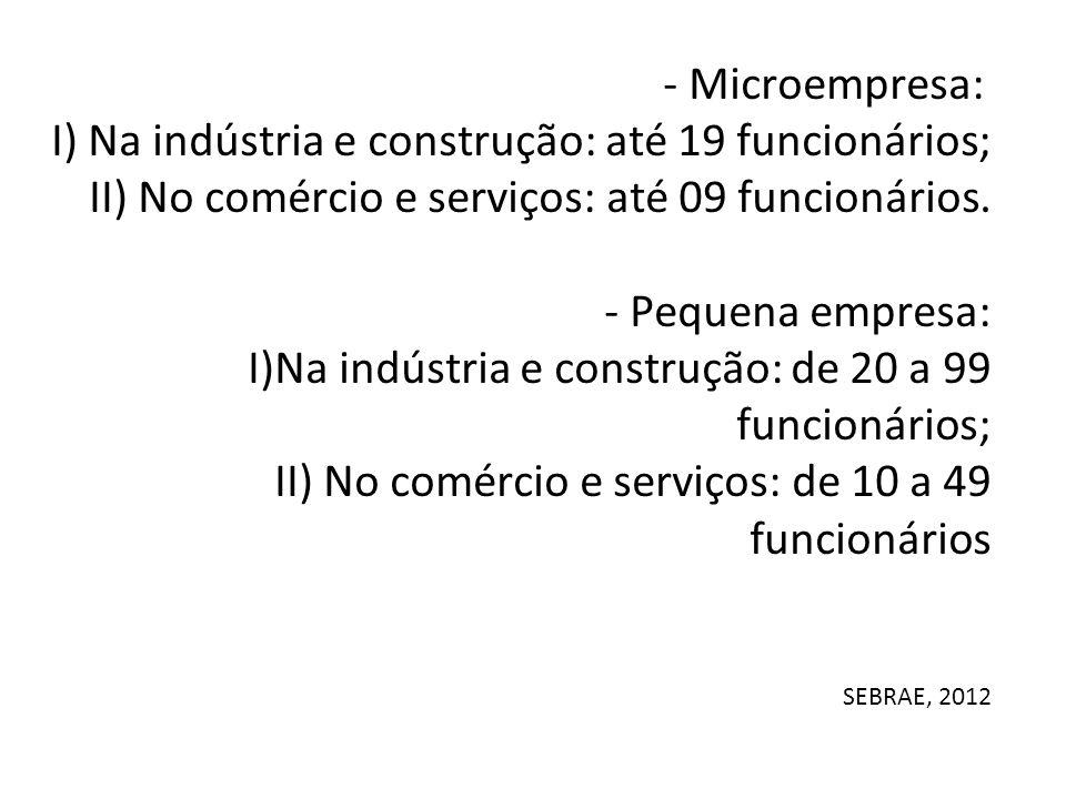 I) Na indústria e construção: até 19 funcionários;