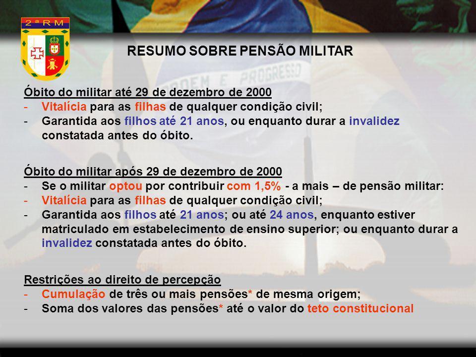 RESUMO SOBRE PENSÃO MILITAR
