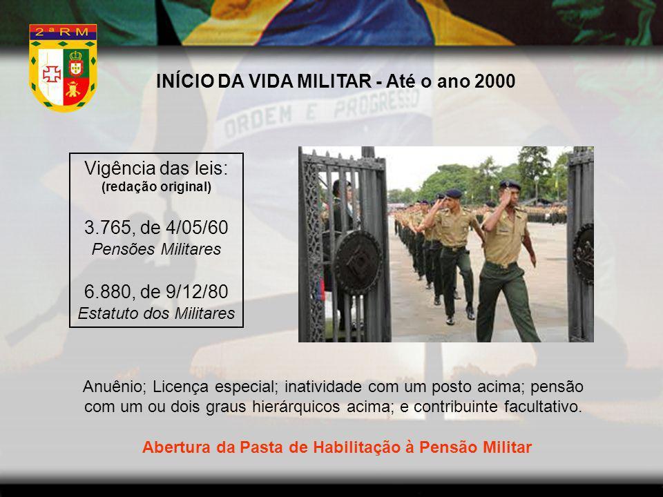 INÍCIO DA VIDA MILITAR - Até o ano 2000