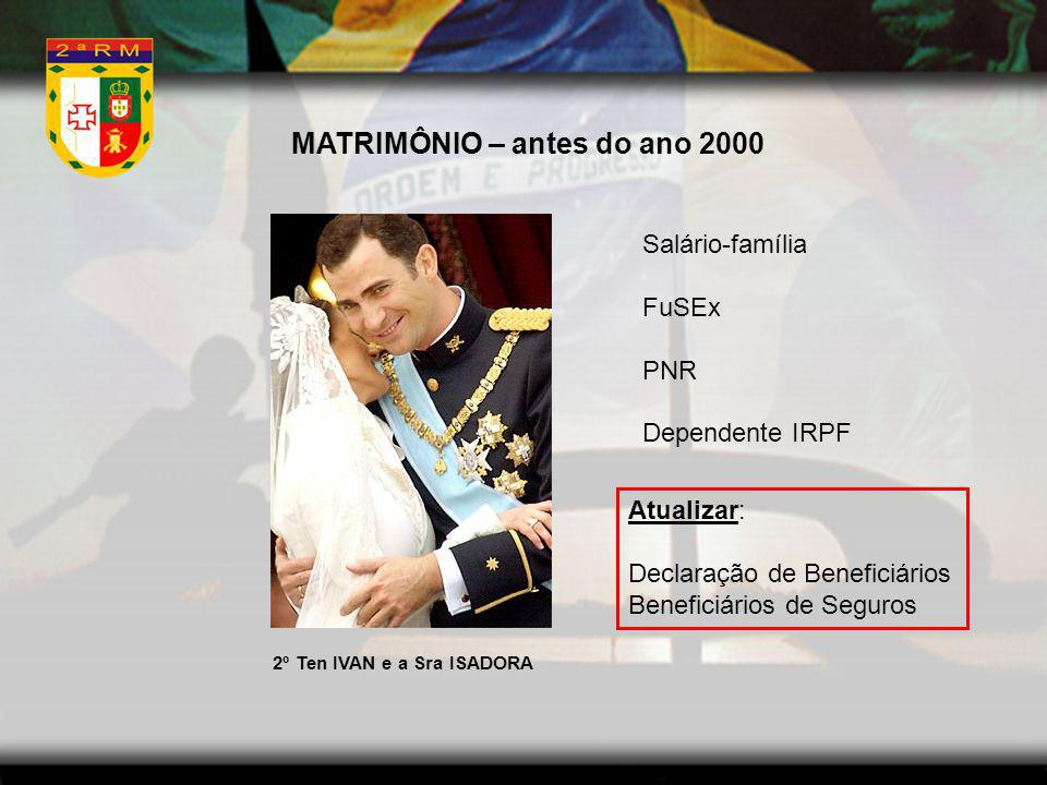 MATRIMÔNIO – antes do ano 2000