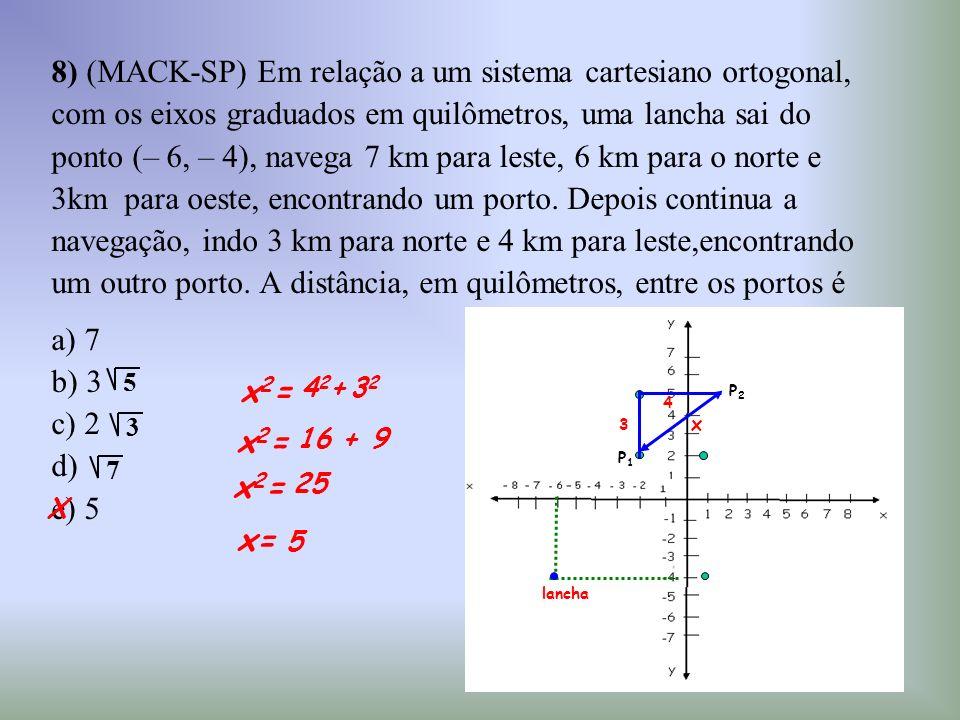 8) (MACK-SP) Em relação a um sistema cartesiano ortogonal,
