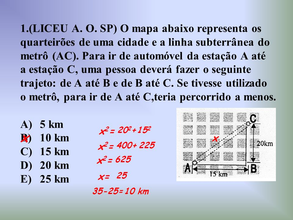 x 1.(LICEU A. O. SP) O mapa abaixo representa os