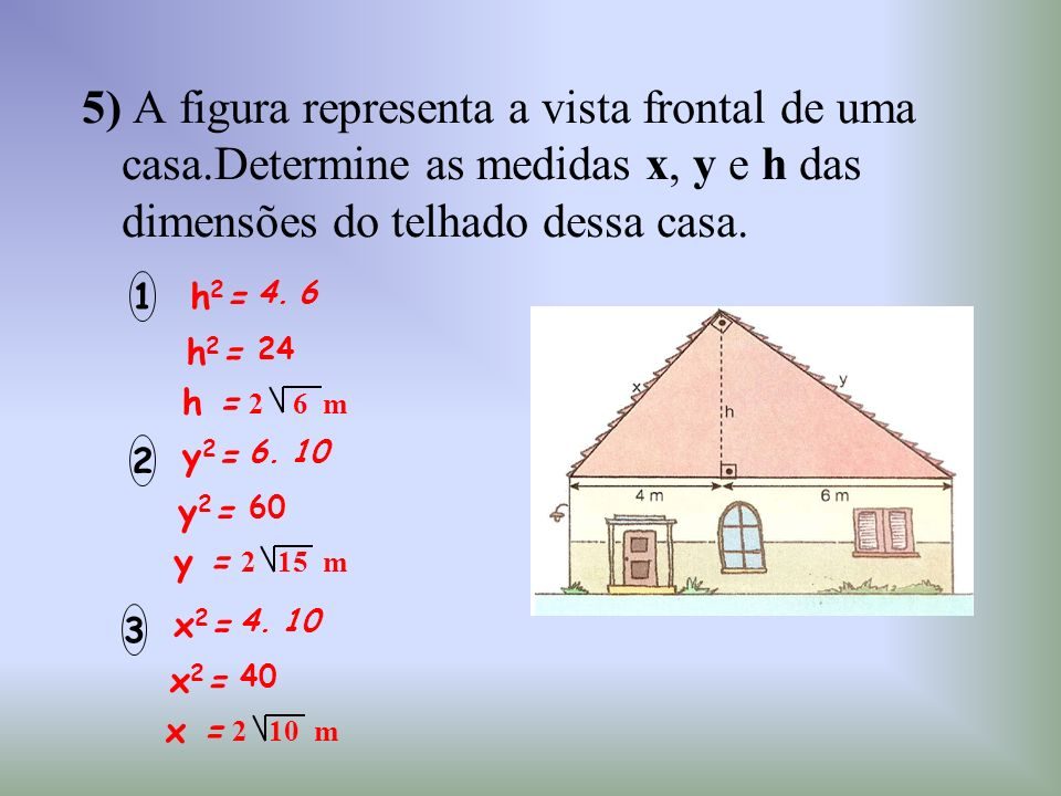 5) A figura representa a vista frontal de uma casa