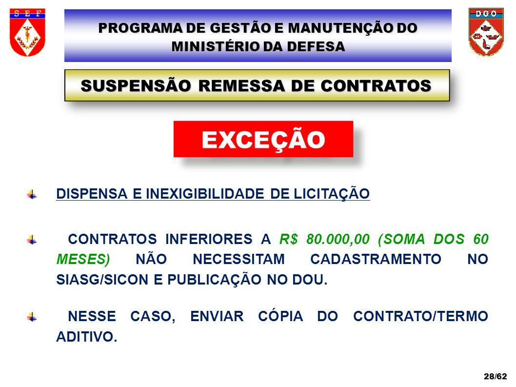 EXCEÇÃO SUSPENSÃO REMESSA DE CONTRATOS