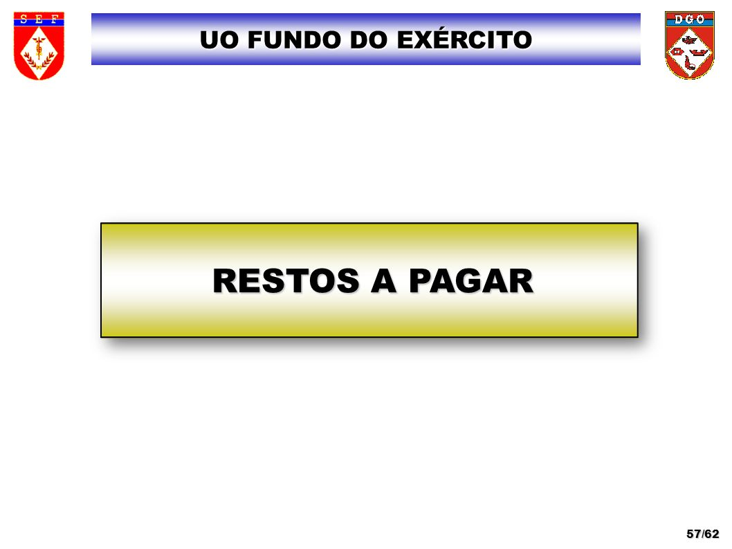 UO FUNDO DO EXÉRCITO RESTOS A PAGAR 57/62