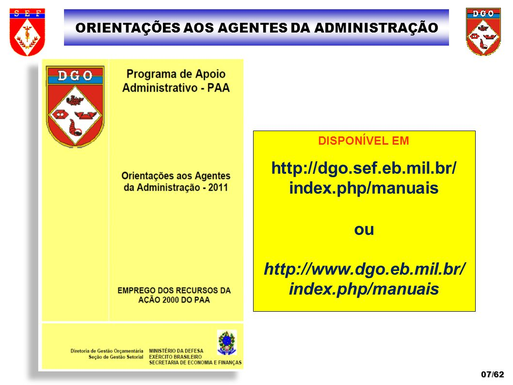 ORIENTAÇÕES AOS AGENTES DA ADMINISTRAÇÃO