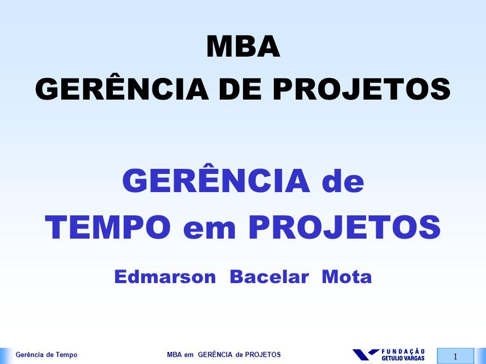 GERÊNCIA de TEMPO em PROJETOS MBA GERÊNCIA DE PROJETOS