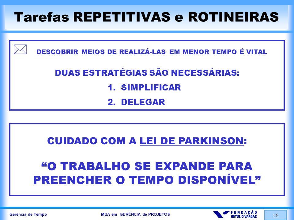 Tarefas REPETITIVAS e ROTINEIRAS