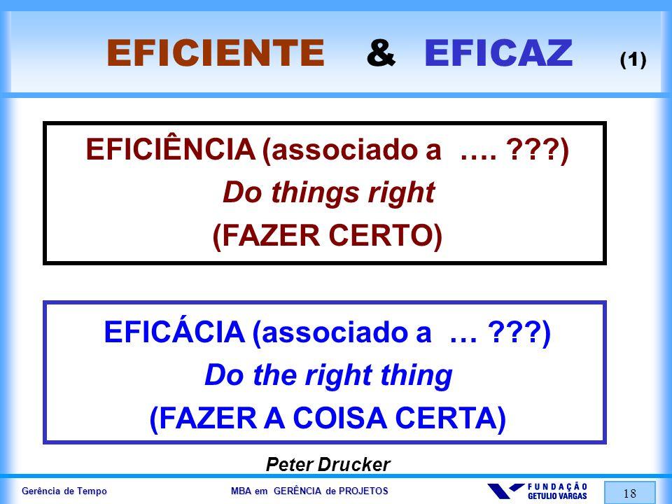 EFICIÊNCIA (associado a …. ) EFICÁCIA (associado a … )