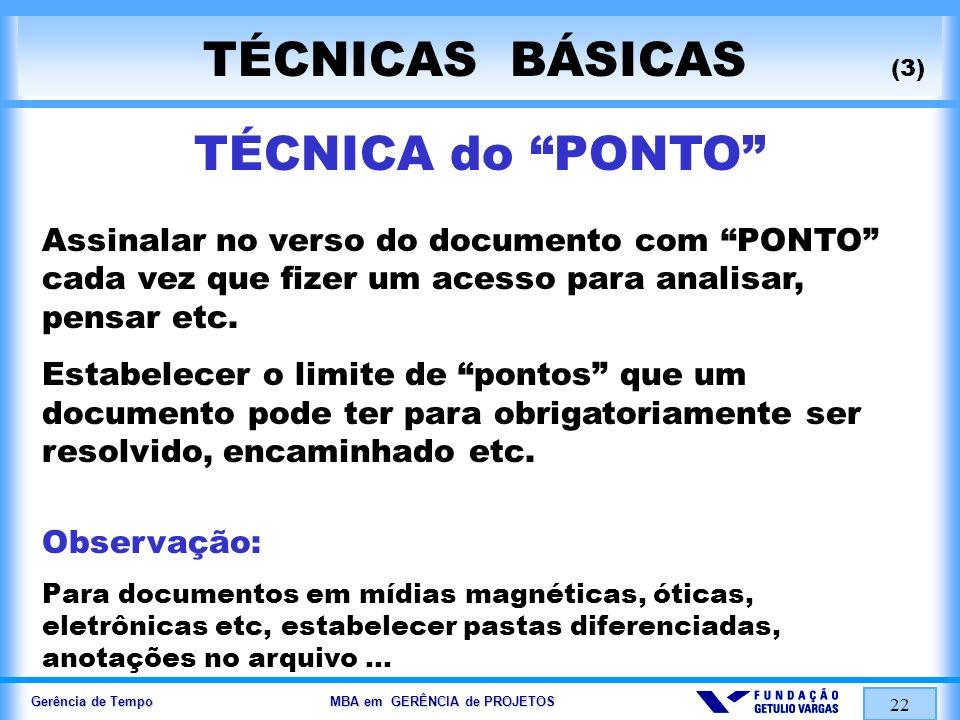 TÉCNICAS BÁSICAS (3) TÉCNICA do PONTO