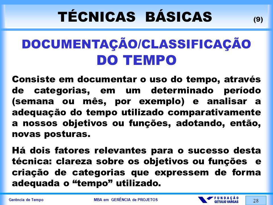 DOCUMENTAÇÃO/CLASSIFICAÇÃO DO TEMPO