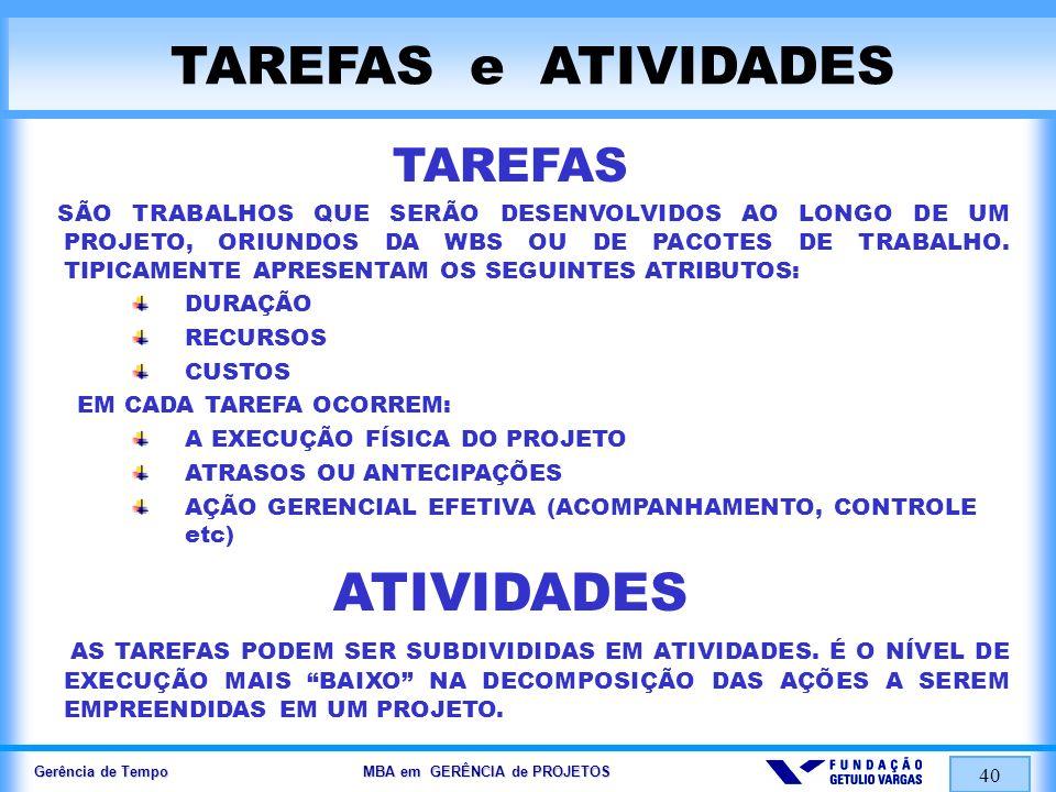 TAREFAS e ATIVIDADES ATIVIDADES TAREFAS